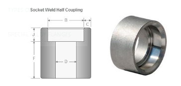 Socket Weld Half Coupling Dimensions